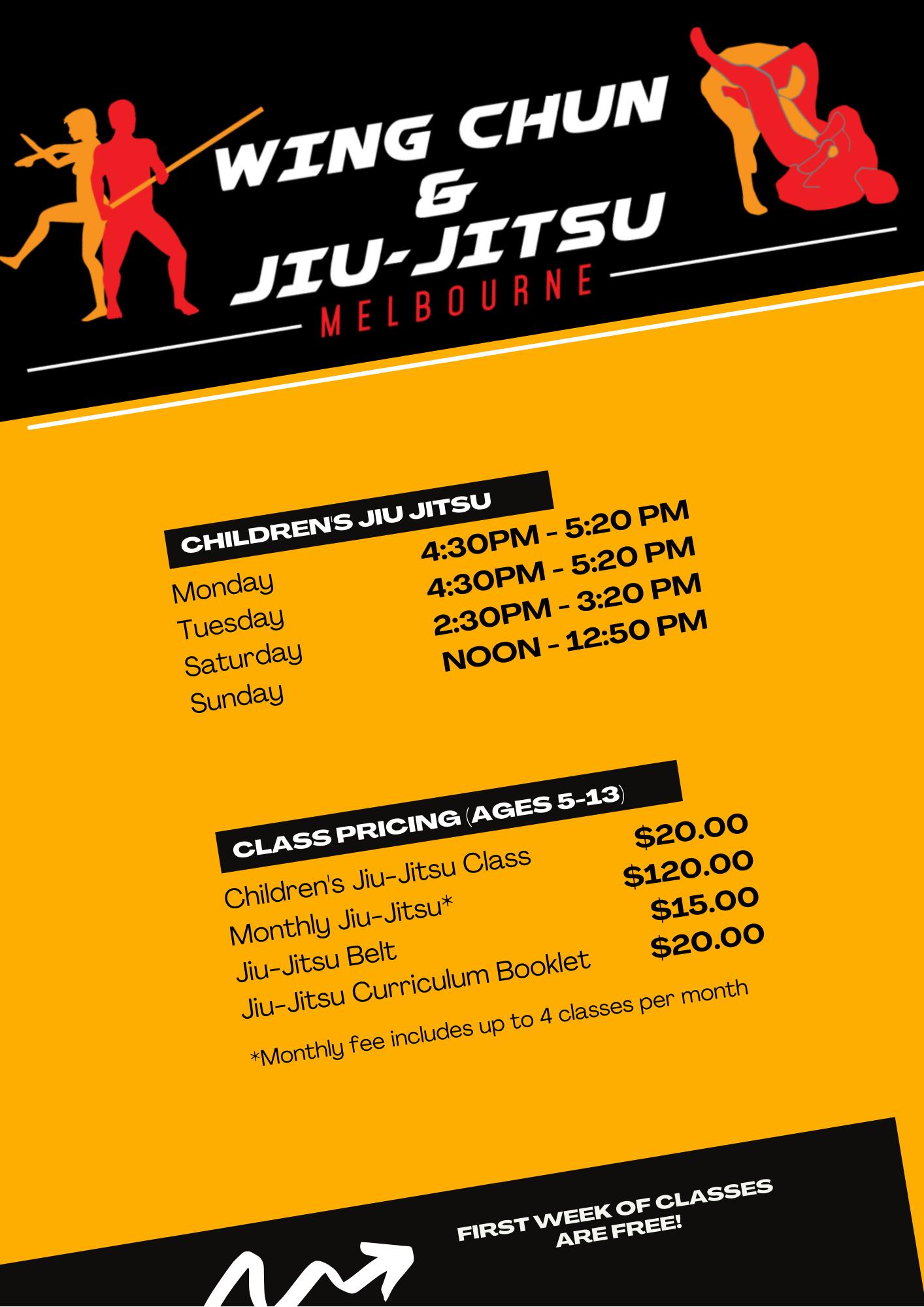 Wing Chun & Jiu-Jitsu Melbourne - Kids Karate Training Timetable 2021 KidsTimetable2021-2