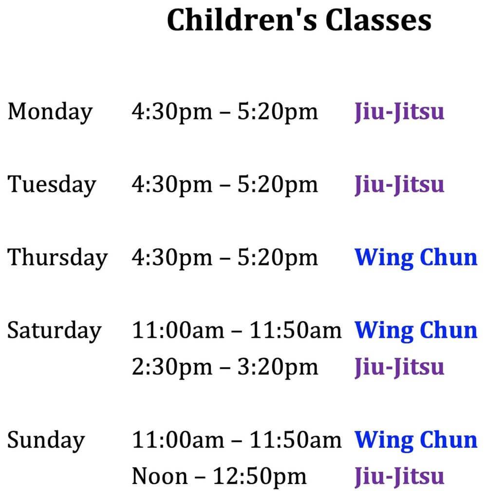Wing Chun & Jiu-Jitsu Melbourne - Children Jiu Jitsu and Wing Chun Class Times -Kids27classtimes