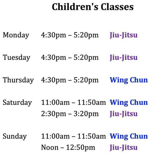 Wing Chun & Jiu-Jitsu Melbourne - Children Martial Arts Class Schedules and Times Kids25272Bclass2Btimes