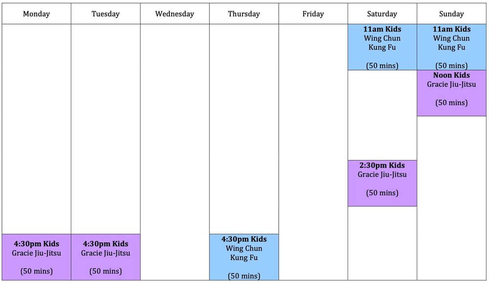 Wing Chun & Jiu-Jitsu Melbourne - Kids Karate Training Timetable 2021 -KidsTimetable2021-1