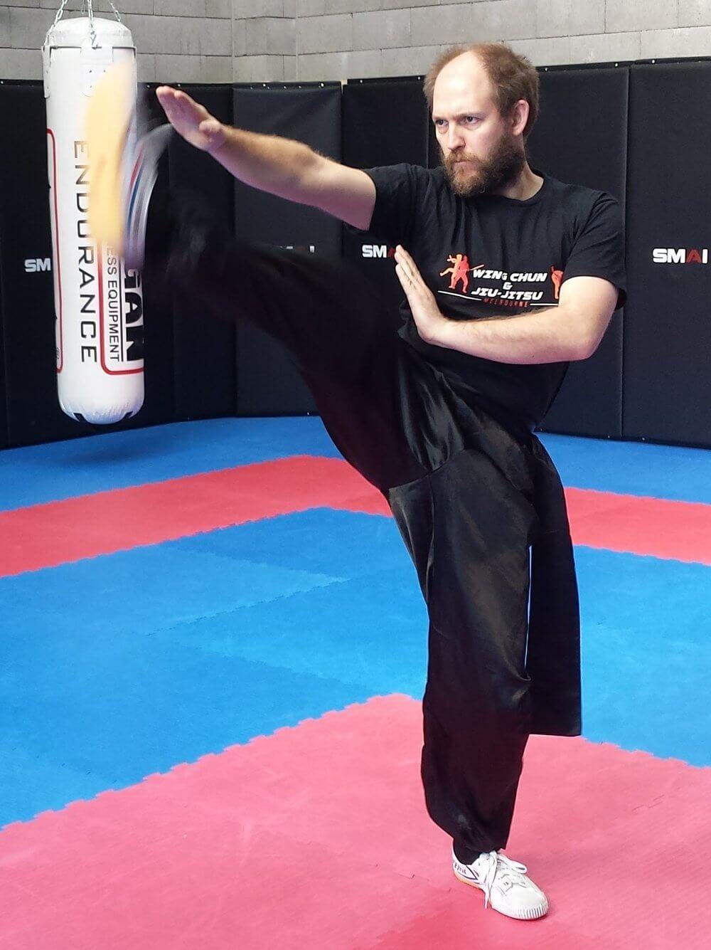 Wing Chun & Jiu-Jitsu Melbourne - Trainor in Wing Chun Biu Sao front kick 05