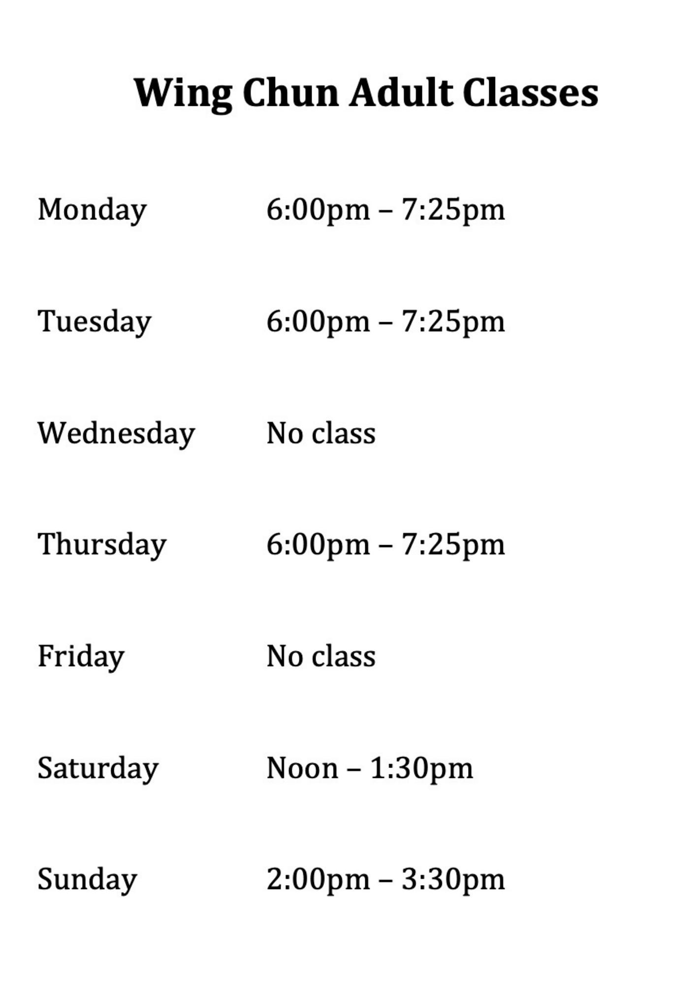 Wing Chun Classes at Wing Chun & Jiu-Jitsu Melbourne - Wing Chun Adult Classes -WingChunclasstimes-1