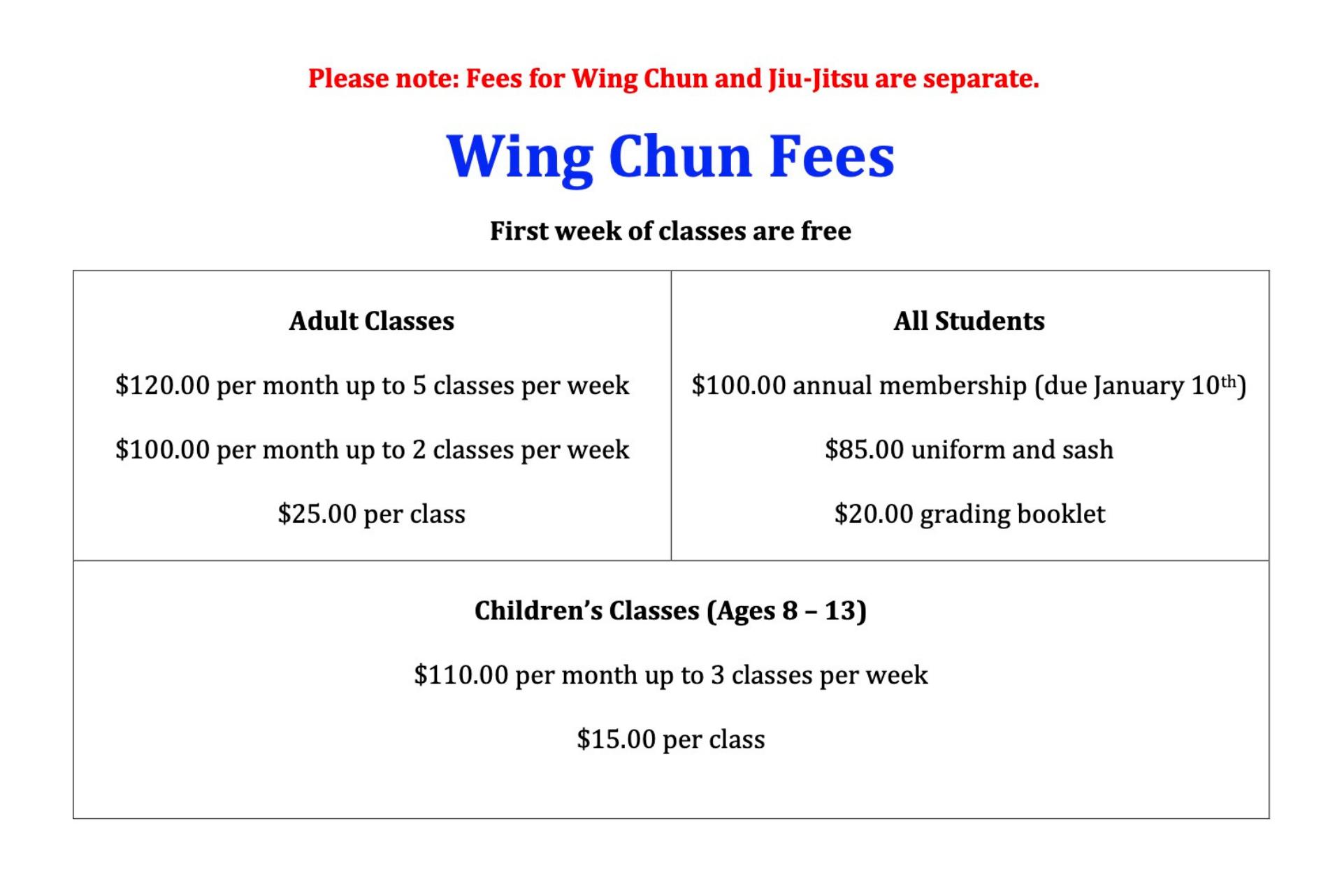 Wing Chun & Jiu-Jitsu Melbourne - Karate Gym Wing Chun Pricing and Fees ChunPricing2021