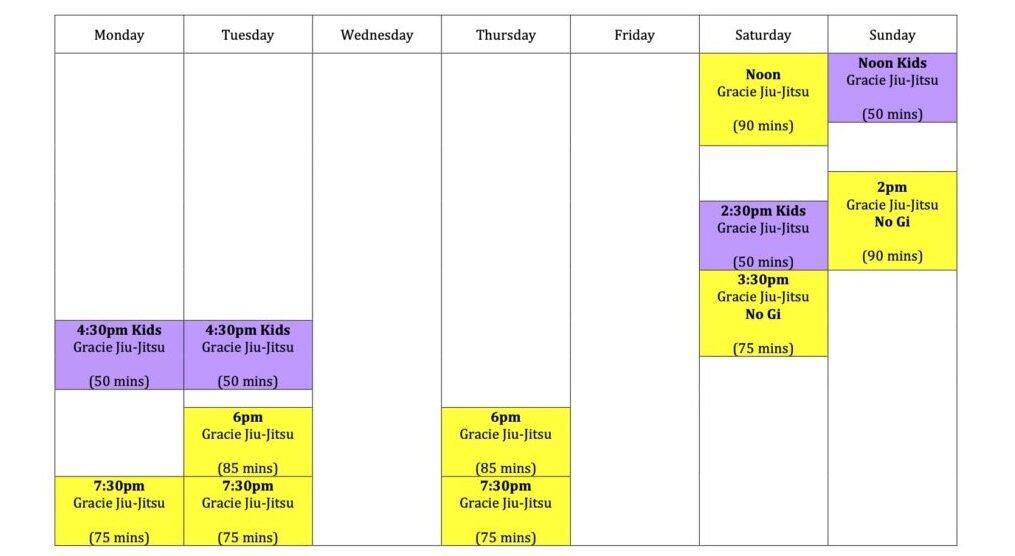 Wing Chun & Jiu-Jitsu Melbourne - Brazilian Jiu Jitsu Timetable and Schedule BJJTimetable2021forwebsiteonly
