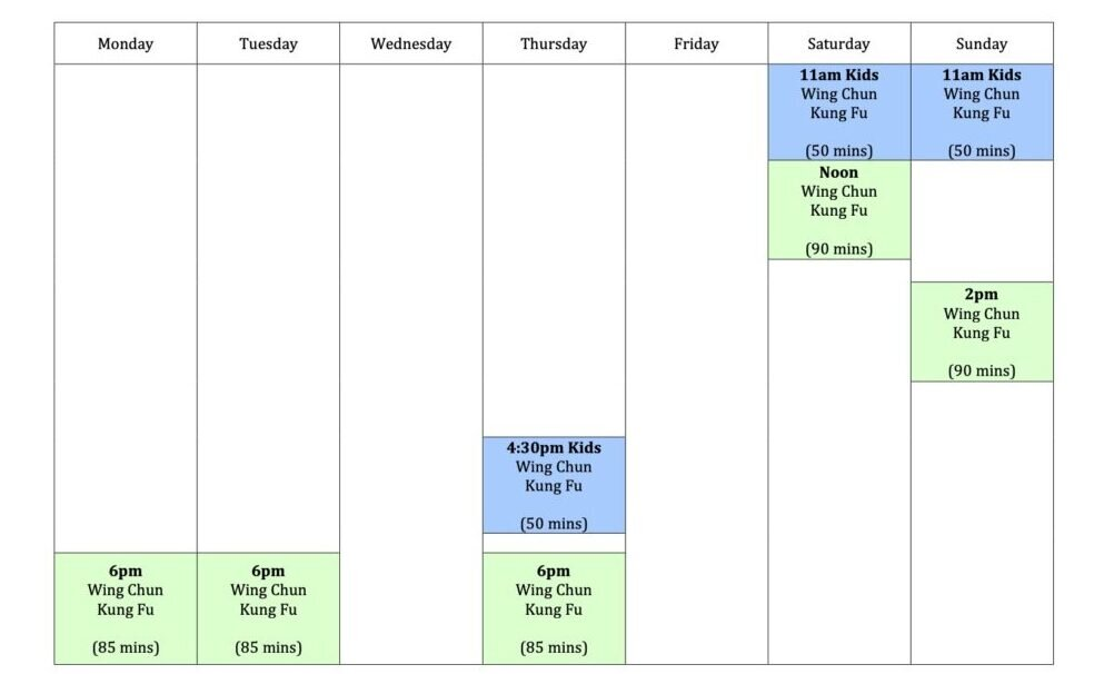 Wing Chun & Jiu-Jitsu Melbourne - Kung Fu Time Table Weekly Schedule WCTimetable2021forwebsiteonly